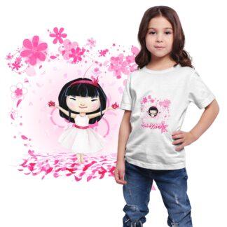 T-shirt avec motif fillette et pétales de fleurs de cerisier