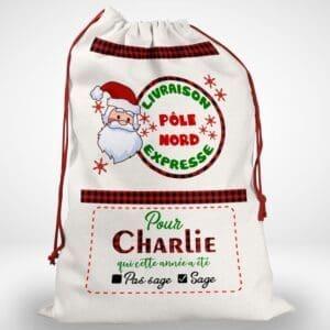Hotte de Noël avec un prénom personnalisée