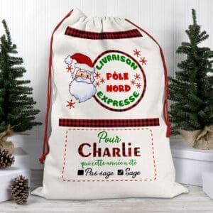 Hotte de Noël personnalisée avec prénom – Livraison expresse