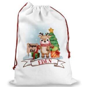 Hotte de Noël avec un prénom personnalisé et motif enfantin de renne