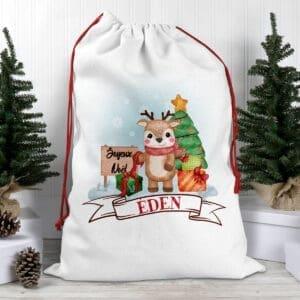 Hotte de Noël enfant personnalisée avec prénom – Renne